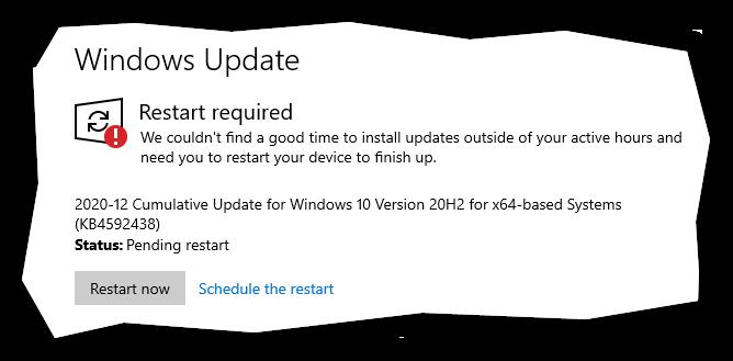 'Restart Now' button