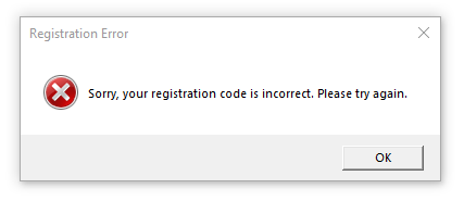 Sorry, your registration code is incorrect. Please try again.