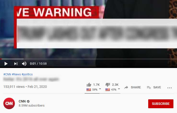 CNN's YouTube page
