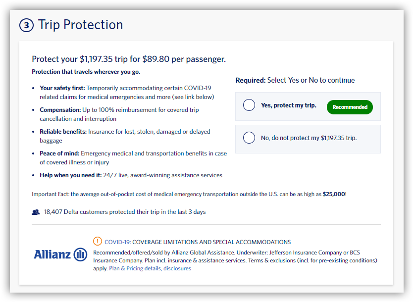 'Trip Protection' upsell page