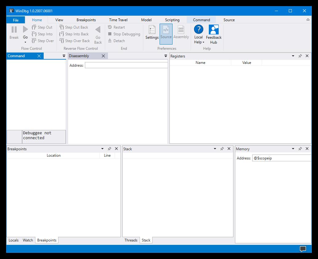 WinDbg Preview workspace