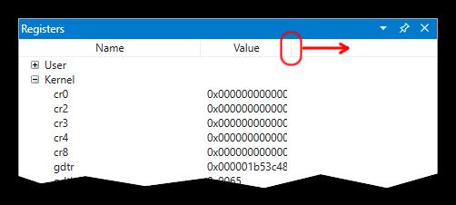 WinDbg Preview, Registers pane bug