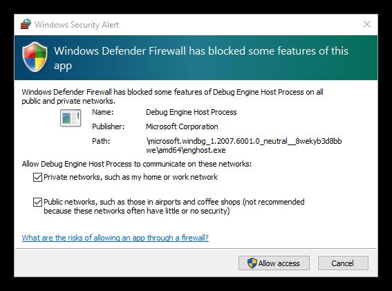 Windows Defender Firewall warning