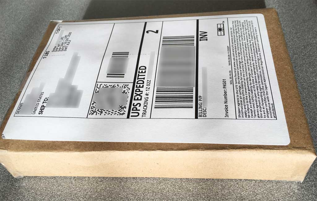 UPS package with a label