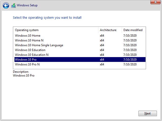 Windows Setup screen