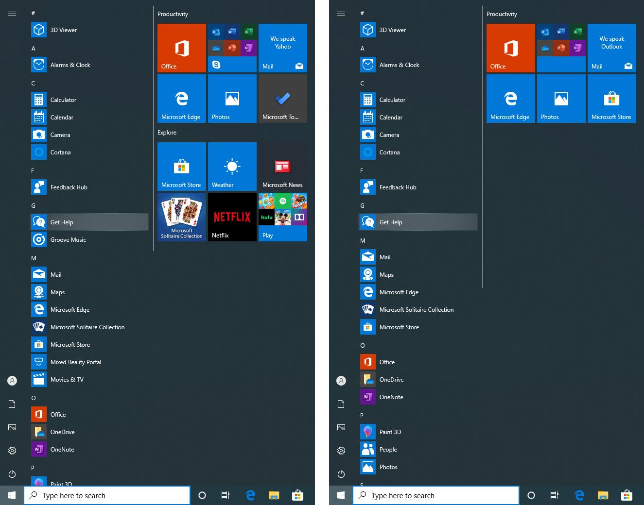 Start menu of Windows 10 Pro vs Pro N